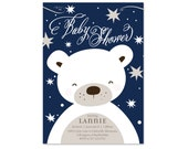 Sweet Baby Bear Shower Invitation, Baby Boy, Twinkle Little Star, Winter Baby Shower Invite, Sprinkle, Sip and See, Polar Bear