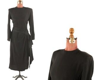Vintage 1940's Susan Wayne Black Rayon Crepe Structured Shoulders Art Deco Asymmetrical Waist Tie Dress M