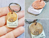 Lucky Us Key Chain - Lucky Penny - Initials and Date - Engagement Gift - Personalized Key Chain - Save the Date Key Chain - Men's Engagement