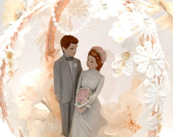 Vintage Peaches and Cream Wedding Cake Topper Porcelain Bride and Groom 1980's Pastel Lace