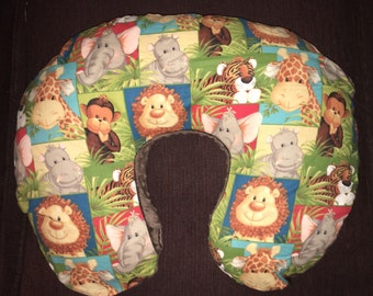 Boppy Nursing Pillow Cover with Zipper Closure Animal Safari/Brown Minky