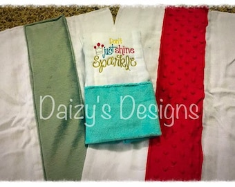 Embroidered burp rags - Set of 3