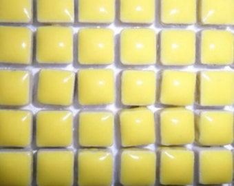 Liliput mosaic tiles, small tiles,  banana yellow, indoor tiles outdoor tiles, 10mm x 10mm, glazed tiles, ceramic tile, matching tile