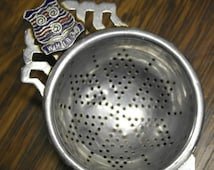 vintage chrome plate enamel top tea strainer