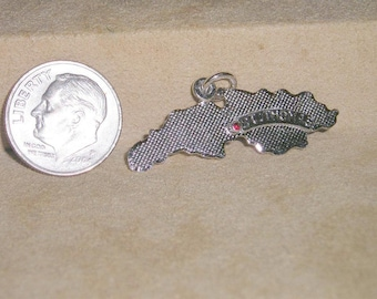 Vintage Sterling Silver St Thomas Charm Or Pendant US Virgin Islands 1970's Signed Jewelry H22