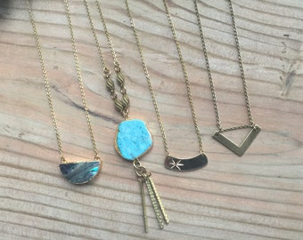 Handmade Gold Brass Turquoise Necklace
