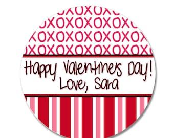 24 STICKERS Valentine Stickers, Treat Bag Labels, Personalized Valentine Stickers, Goodie Bag Stickers, Happy Valentine's Day Stickers (469)