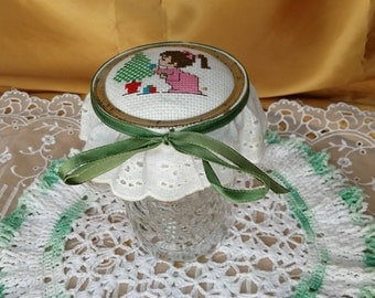 Cute Vintage Needlepoint Lid Ball Wide Mouth Mason Canning Jar - Eyelet lace trim, green ribbon - Girl and Christmas Tree