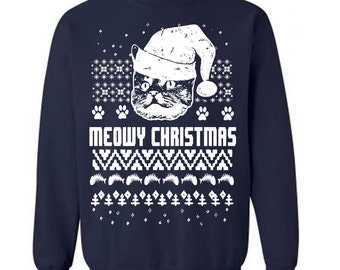 Cat Ugly Christmas Jumper Sweater Funny Christmas Cats Sweater Christmas Party Sweatshirt Holiday Sweaters Tacky Sweater Gifts Cat Lovers