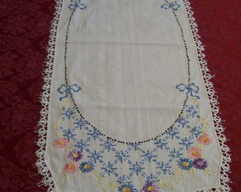 Embroidered Table Runner Vintage Hand Embroidery and Crochet Blue and Pink Dresser Scarf Center Doily Hand Stitched