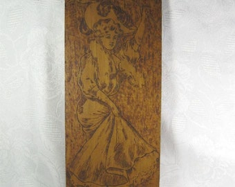 Antique Pyrography Wood Art Plaque Gibson Girl Waving Pennant Ithaca College NY Wall Hanging Dorm Room Co-ed Fashion Gift
