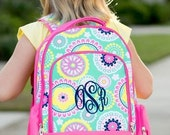 Personalized Hot Pink Paisley Backpack  Monogrammed Paisley Back pack 