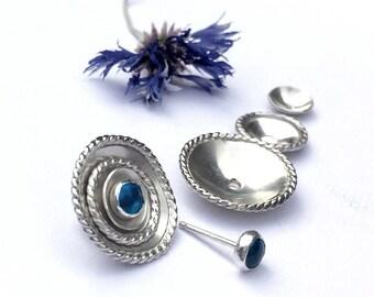 Blue Lagoon Margarita Earrings, Unique Silver Stud Earrings, Cluster Stud Earrings, Apatite Studs, Mix and Match Earrings, The Earring Bar