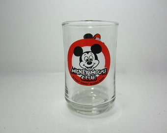 Mickey Mouse Club Collectible Juice Glass - Walt Disney Productions - Red, White, and Black
