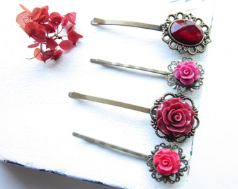Haarklammer,Hairpin,Flower Hairpin,Blumen Haarklammern,set hairpin,set of four(4),country chic,christmas red hairpins,x-mas hairaccessoires