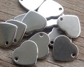 5 Stainless Steel Heart Charms 11mm Stamping Blanks
