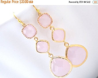 SALE Pink Earrings, Glass Earrings, Gold Earrings, Soft Pink, Light Pink, Long Earrings, Bridesmaid Earrings, Bridal Jewelry, Bridesmaid Gif