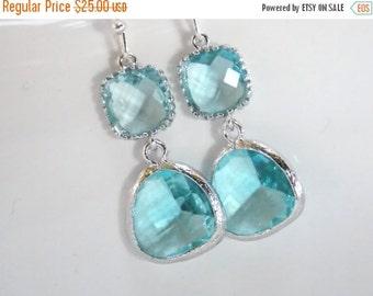 SALE Blue Earrings, Aquamarine Earrings, Aqua Earrings, Silver Glass Earrings, Wedding, Bridesmaid Earrings, Bridal Jewelry, Bridesmaid Gift