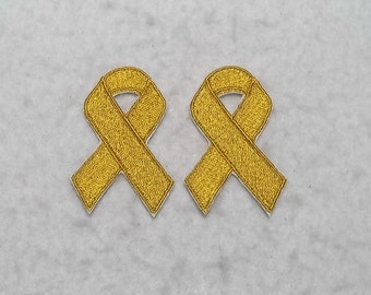 Gold Awareness Ribbon (mini - set of two) (Childhood Cancer) MADE to ORDER - Choose SIZE - Tutu & Shirt Supplies iron on Applique Patch 7495