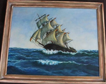 Oil Painting of Clipper on High Sea