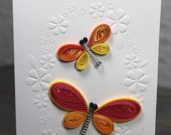 Quilled card/quilled dragonfly/embossed card/blank card/upcycling
