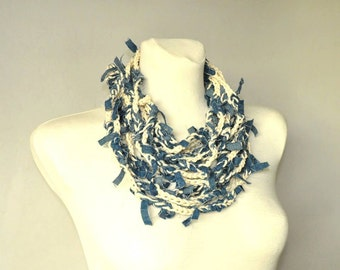 Crochet Necklace, Fiber Art Necklace, Tattered Denim Stripes, Recycled Jewelry, Upcycled Necklace,Circle Scarf
