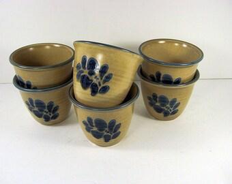 Vintage PFALTZGRAFF FOLK ART Custard Cups Set/6 Dessert Bowl Dish Stoneware