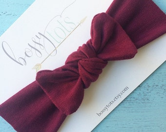 Maroon Flat Bow Top Knot Turban Headband
