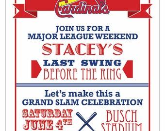 Baseball Bachelorette Party Digital Invitation - Printable - Digital - Wedding - Bachelorette - St  Louis Cardinals