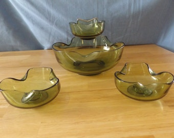 Vintage Chip and Dip Set plus Matching Candle Holders / Anchor Hocking / Green Glass 60's