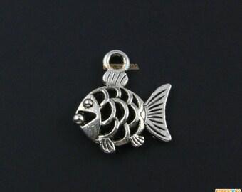 50Pcs Antique Silver Fish Charm Fish Pendant 17x16mm (PND1341)