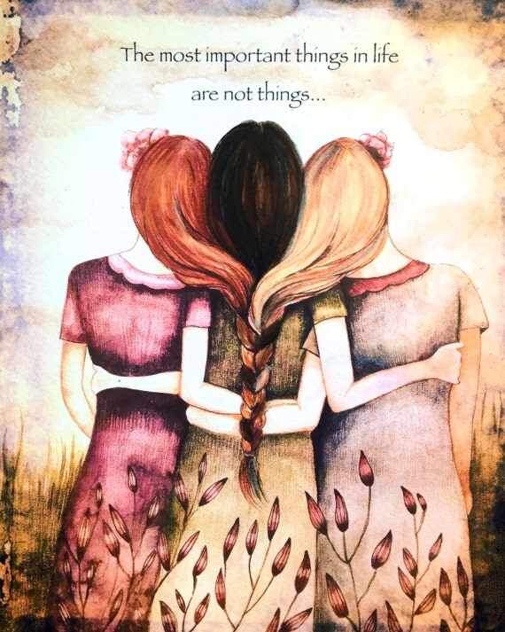 Three sisters best friends  with red hair, black and blonde art print
