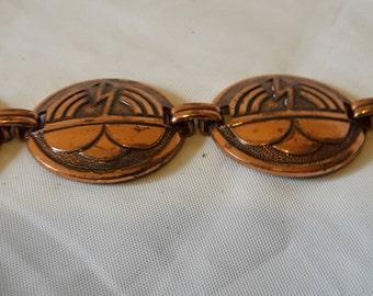 Vintage Copper Aztec Disk Chain Bracelet