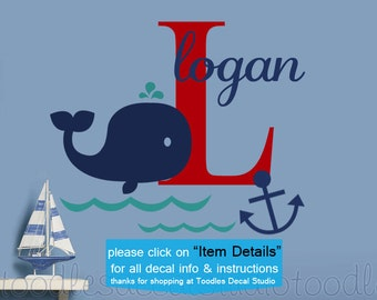 Anchor Wall Decal for Ocean Nursery, Hampton Whale Decals, Anchor Wall Decal, Nautical Room Decor, Bathroom Decal, Large Name Decal for Boys