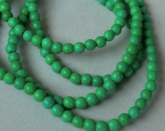 """16"""" Strand - 4mm Dark GREEN Natural Chalk TURQUOISE Beads - Round Opaque Natural Gemstone Bead - Instant Shipping - USA Seller - 5380"""