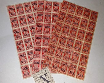 X Vintage paper supplies 90 National savings trading stamps red color blocks sheets scrapbook altered art