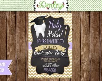 Dental Graduation Party Invitation *choose your own colors* (HM01)