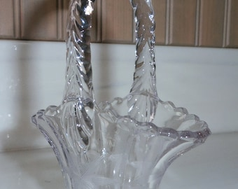 Vase Etched Crystal Glass Basket Duncan Miller