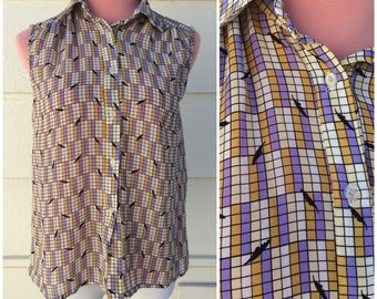 CLEARANCE - Sleeveless button front 80s geo mustard purple blouse size medium
