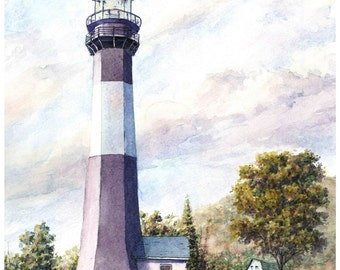 The Purple Lighthouse  - FREE SHIPPING - Art Print - Watercolor by Steven Hawkes