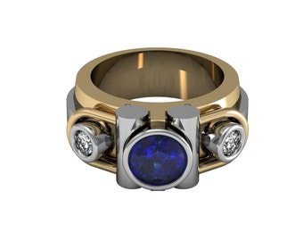 Men blue sapphire and diamond accent ring in solid white and yellow gold 11mm wide | made to order for you within 5-7 business days