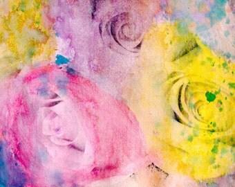 Pastel Bouquet Mixed Media Painting - 8x10 - Original Fine Art