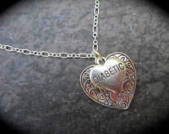 """Diabetic Heart Charm necklace with reversible scroll design Heart charm 16"""" 18"""" 24"""" chain Diabetes Awareness necklace"""