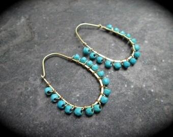 Turquoise and Gold Vermeil beaded hoop earrings Oval wire wrapped gemstone  hoop earrings 24 Karat Gold over sterling silver