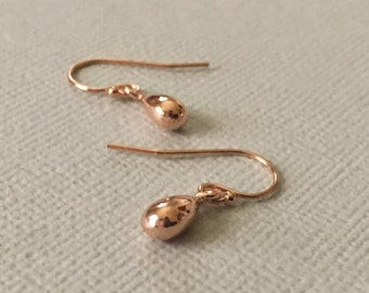 Rose Gold Drops Earrings -Drops of Rose Gold Earrings -Rose Gold Fill Teardrop Earrings