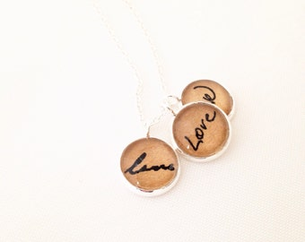 Love.  Loved One Handwriting Keepsake Necklace. Cluster Necklace.  Hendersweet.  Handwriting Jewelry