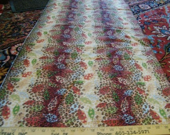 Cotton Fabric, Sewing Yardage, Nature Theme, Screen Print, Quilting, 2 Yards Fabric, Look at Pics