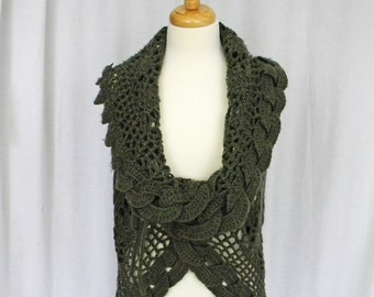 Sage Green Vest, Knit and Crochet, Size Medium