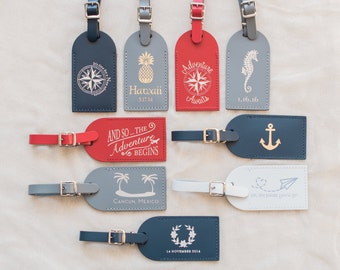 Wedding Favors - Foil Pressed Elegance Leather Luggage Tags (Minimum Order of 50 Required)