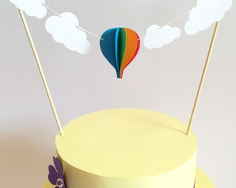 Cake topper with hot air balloon and clouds, cake topper for wedding, party, baby shower, sewn with colored paper, handmade, 3D